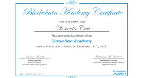 The Blockchain Academy Certificate notarized on the Blockchain